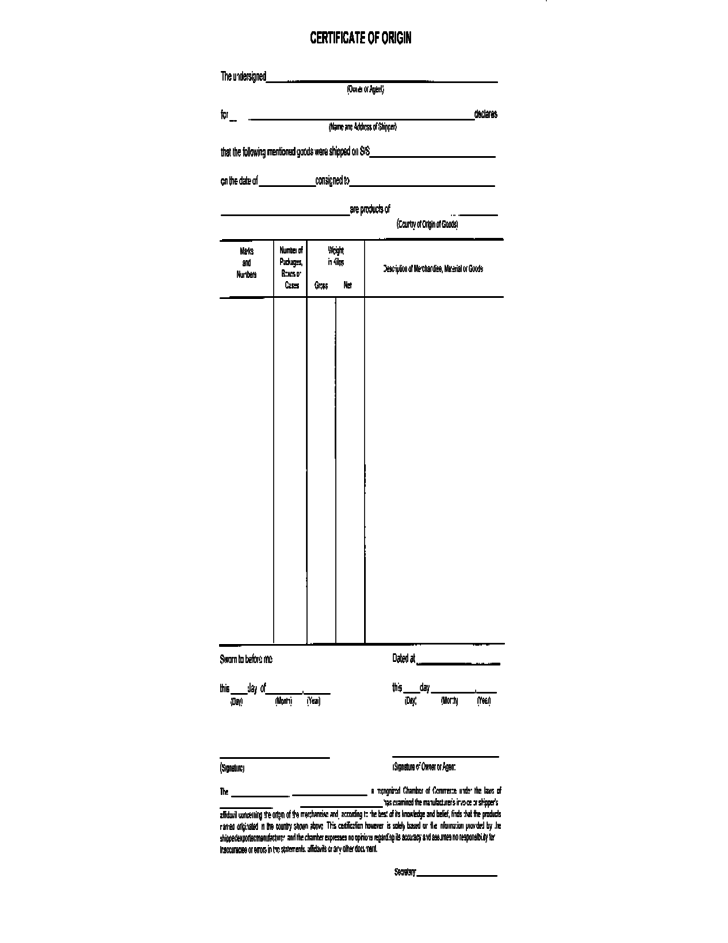 certificate of origin for a vehicle template - certificate of origin form sample free download