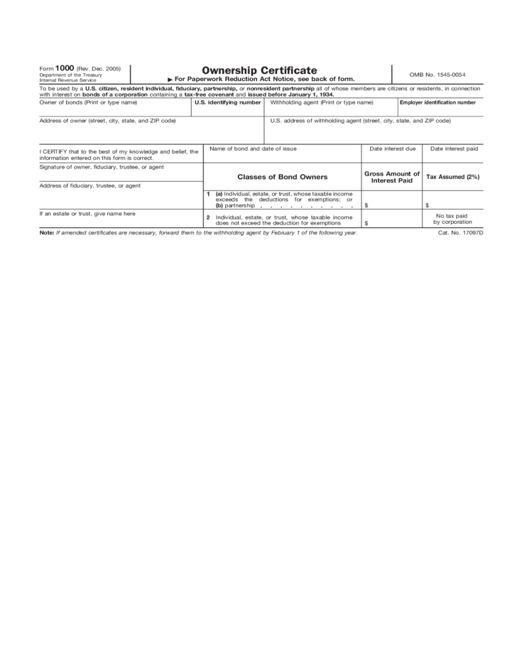 Form 1000 - Ownership Certificate Form (2005) Free Download