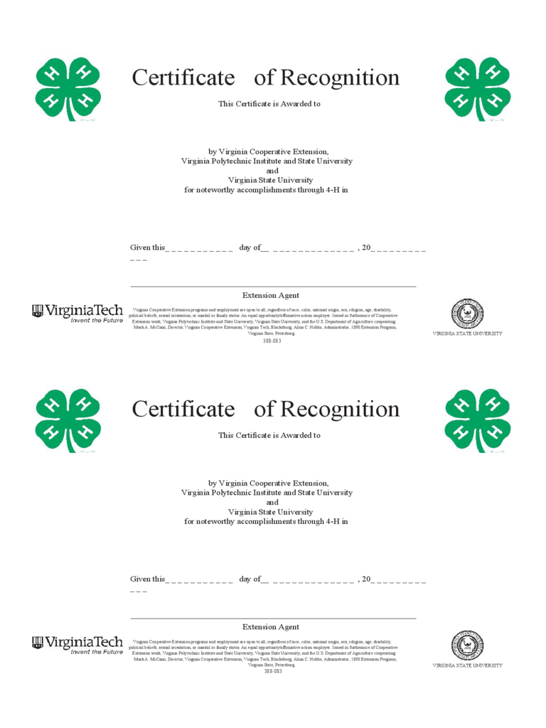 Blank Certificate of Recognition Template