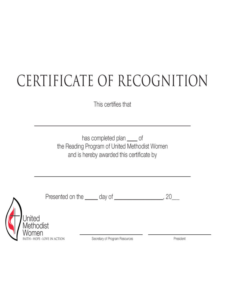 Simple Certificate of Recognition Template