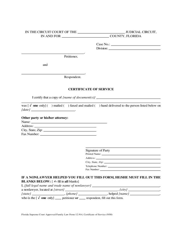 Certificate of Service Florida Free Download – Sample Certificate of Service Template