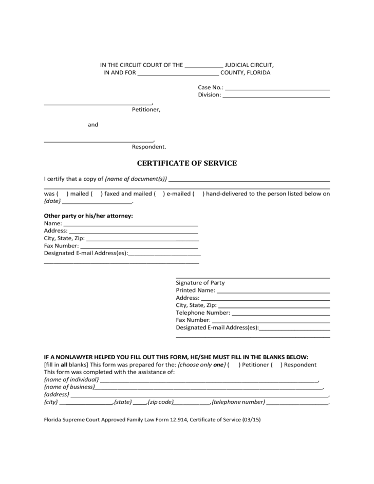 Certificate of service form florida free download for Certificate of service template