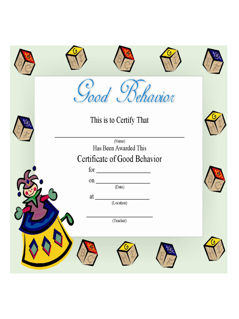 certificate of good behavior for kids