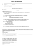Trust Certification Form Free Download