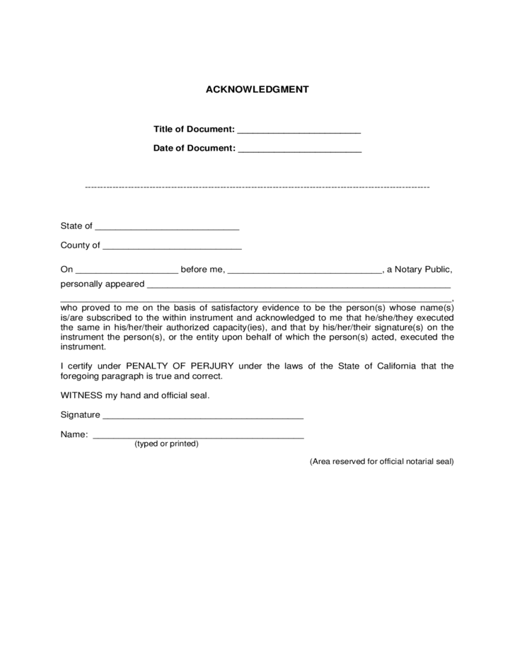 Certification of Trust Sample Form Free Download