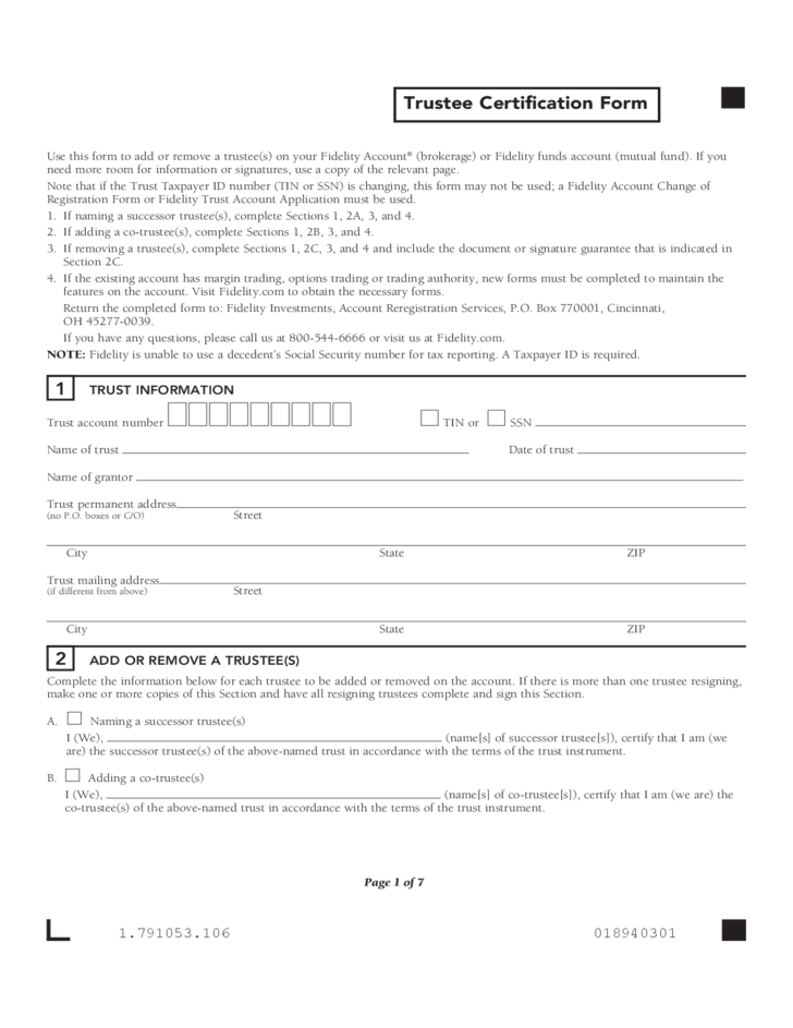 trustee certification form