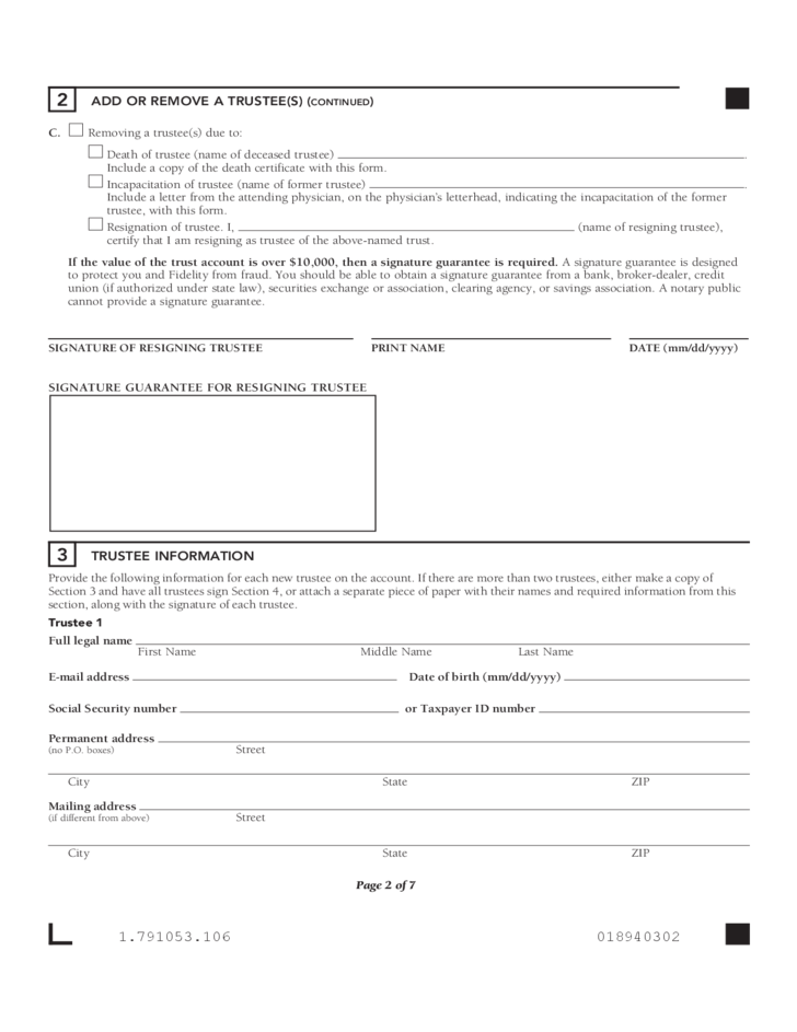 Trustee Certification Form - Fidelity Investment Free Download