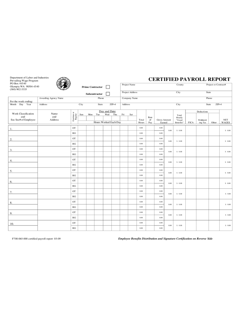 Certified Payroll Report - Washington Department of Labor and Industries