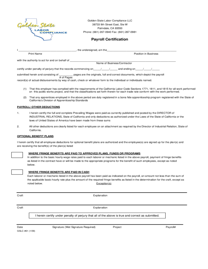 payroll certification certified form