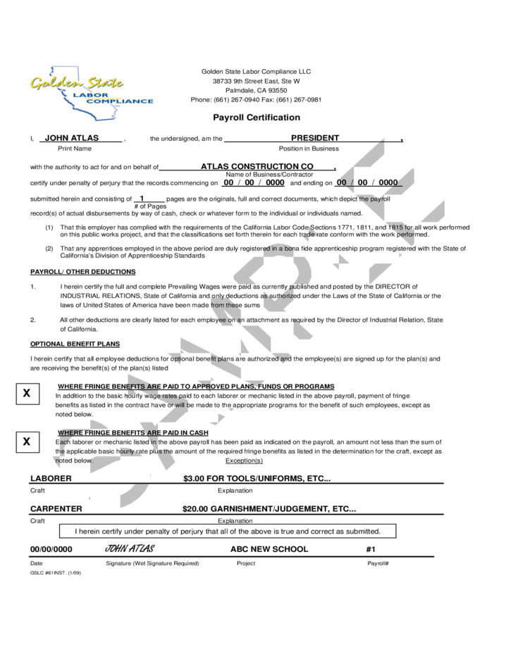 payroll certification form certified