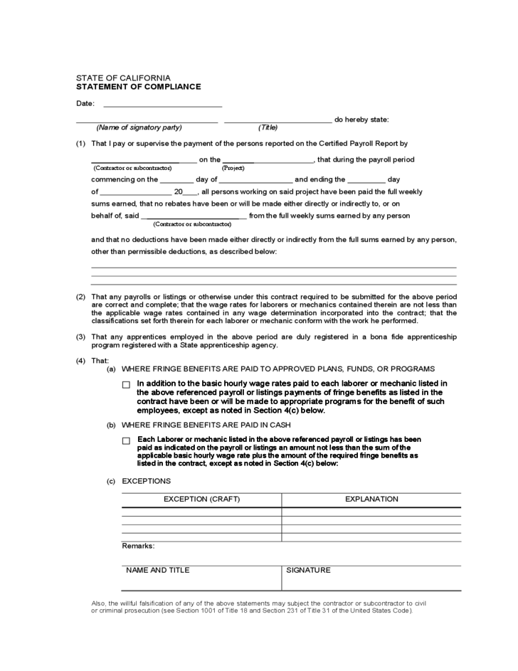 Statement Of Compliance Sample California Free Download