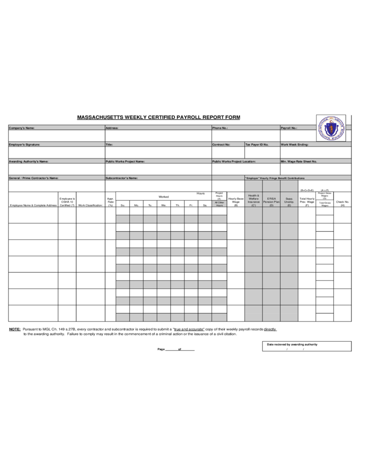 massachusetts weekly certified payroll report form