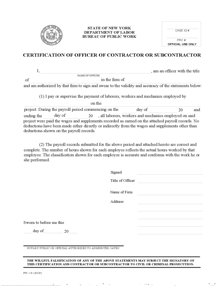Certification of Payroll by Officer - New York Free Download