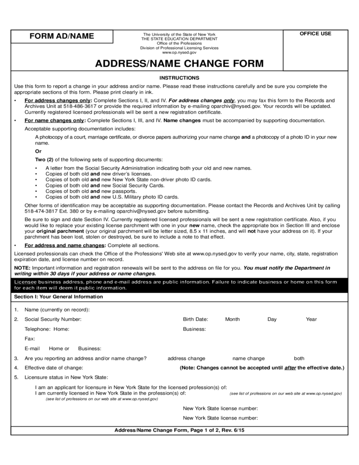 Name And Address Change Form - New York Free Download
