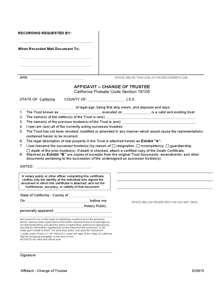 Change of Trustee Form - 2 Free Templates in PDF, Word, Excel Download