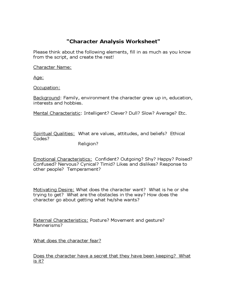 Character Analysis Template 2 Free Templates in PDF Word Excel – Character Analysis Template