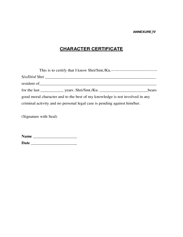 Sample character certificate free download for Employment separation certificate template