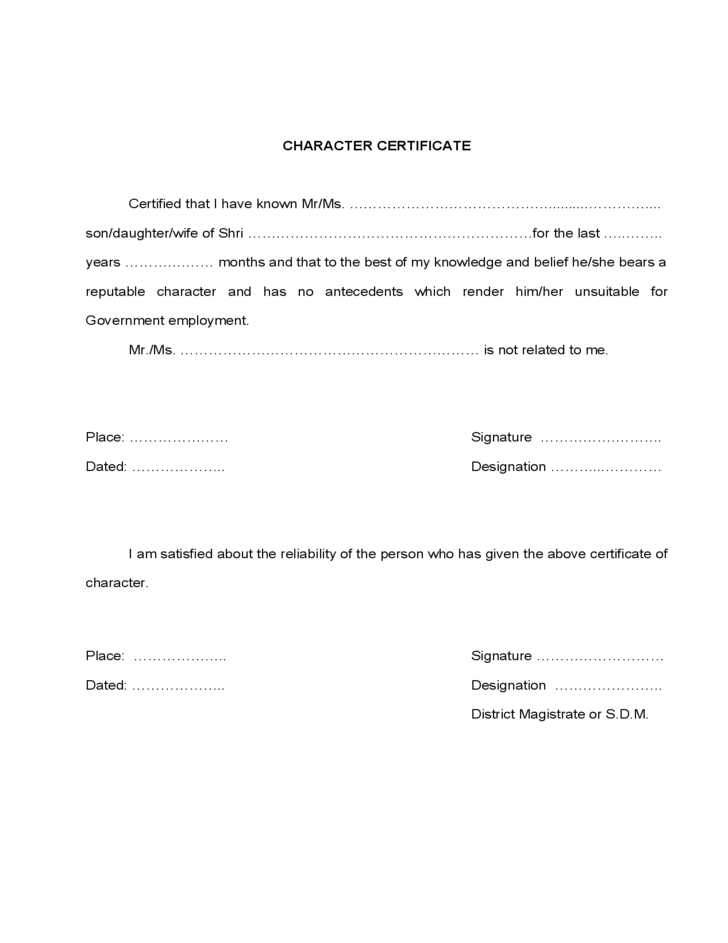 character certificate template free download