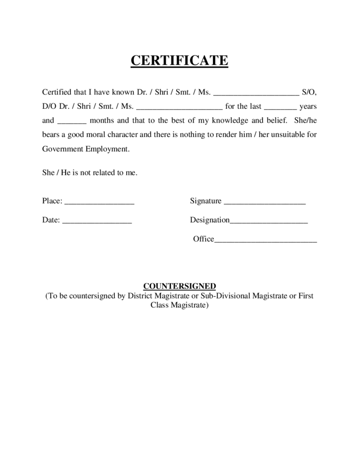 certificate of good moral character template - certificate of good moral character free download