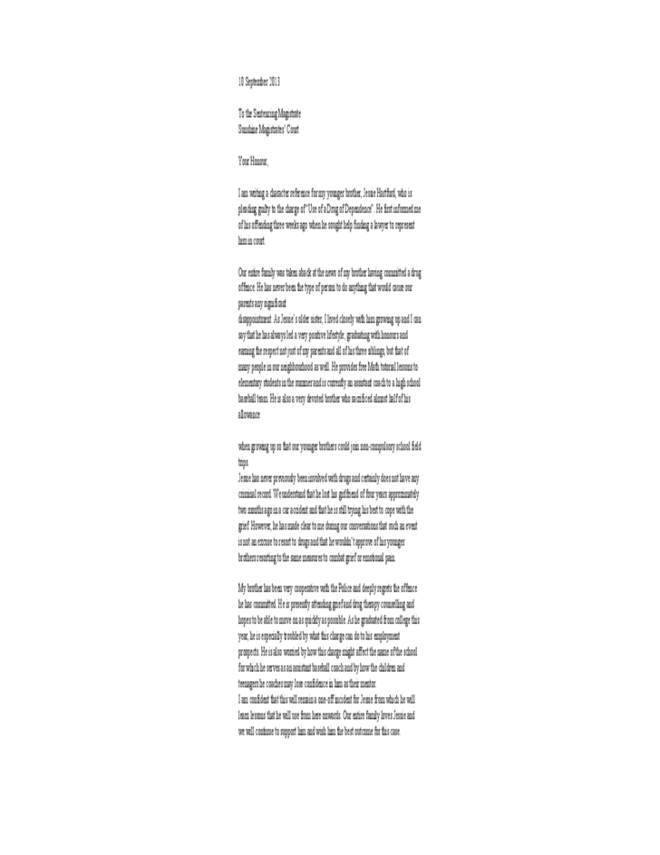 Sample Character Reference Letter For Court For Brother