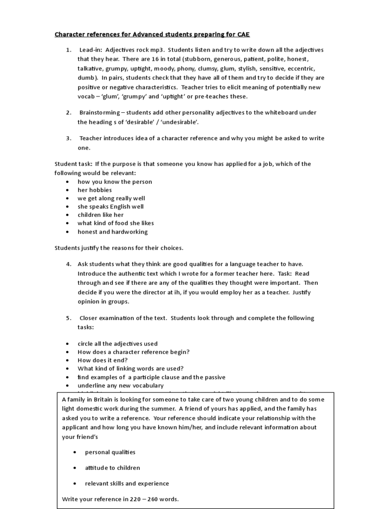 Sample Character Reference Letter For Advanced Students Preparing For CAE  Character References Template