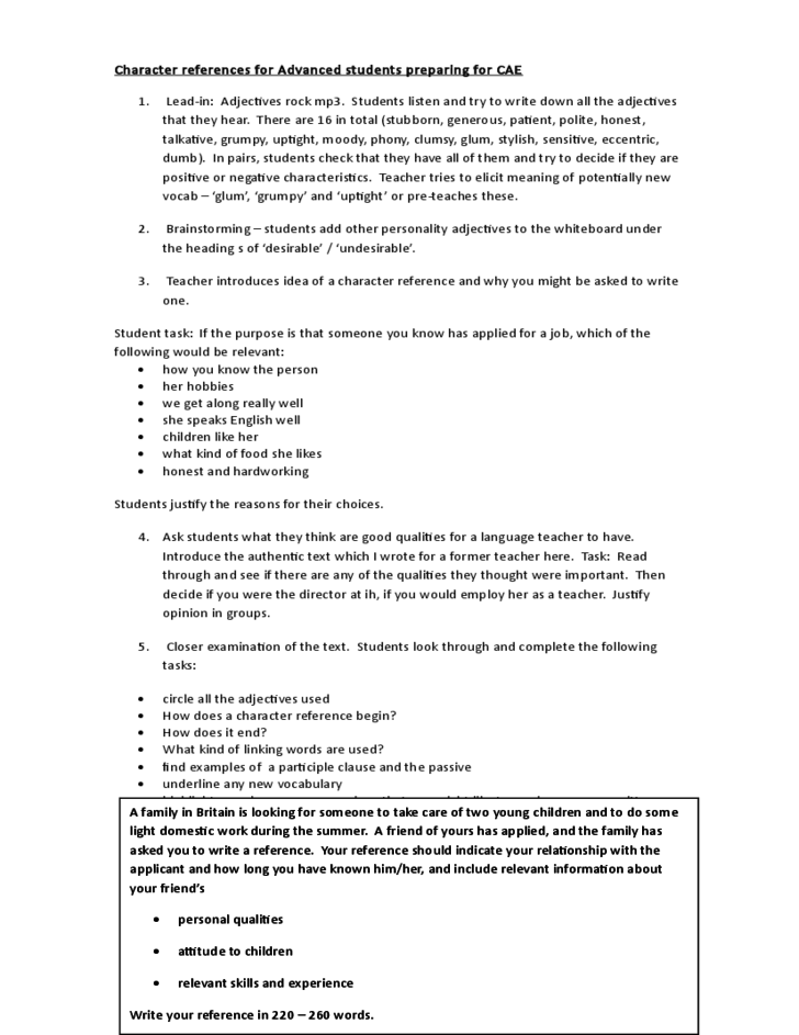 Sample Reference Letter For Student About Character Cover Letter – Sample Character Reference Letter Student
