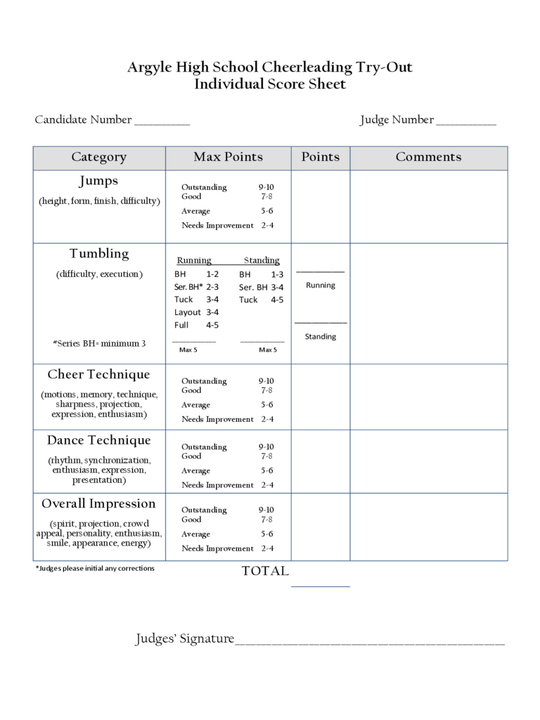Cheerleading Tryout Score Sheet 4 Free Templates In Pdf