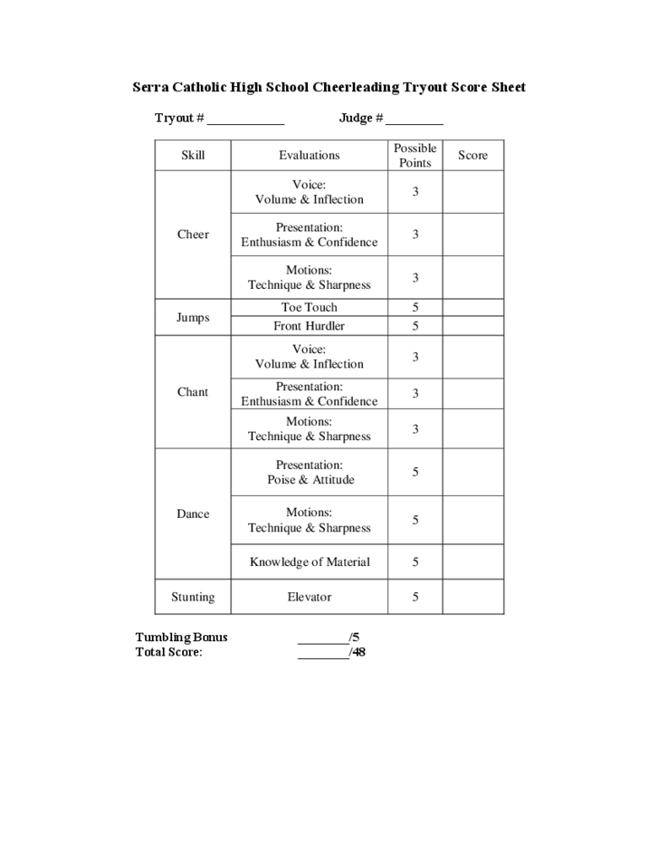 cheerleading tryout score sheet template free download