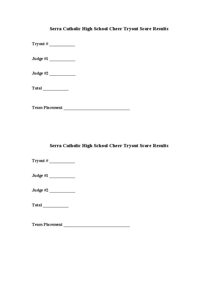 Cheerleading Tryout Score Sheet Template Free Download – Cheerleading Tryout Score Sheet