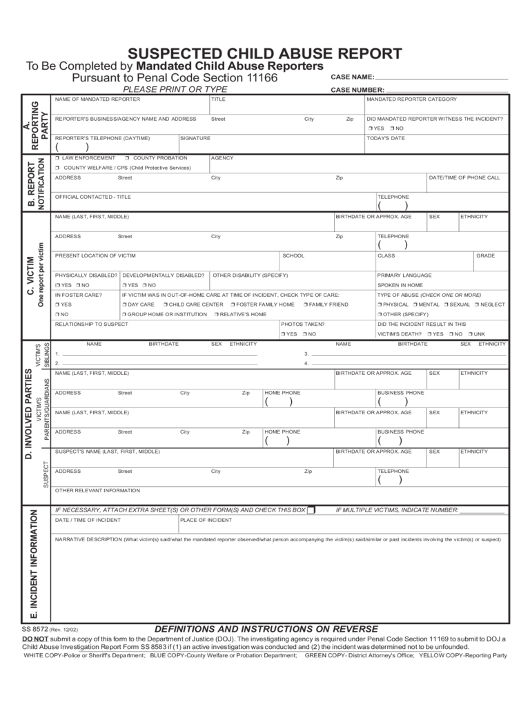 Child Abuse Report Form - 2 Free Templates in PDF, Word, Excel ...