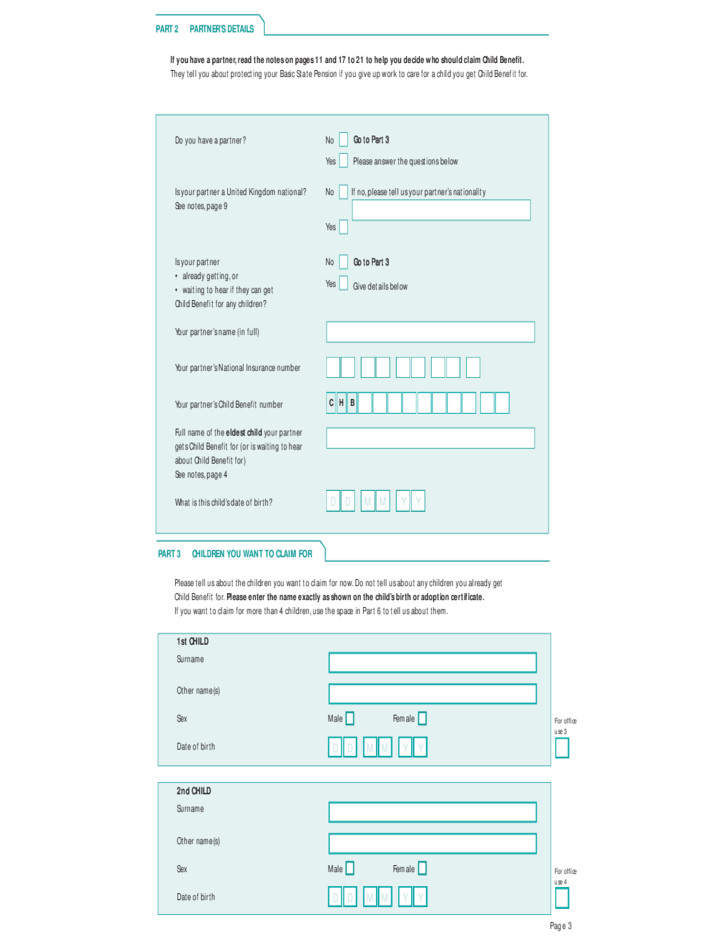 Child Benefit Claim Form Free Download – Child Benefit Form