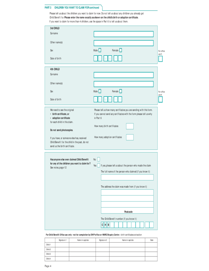 Child Benefit Claim Form