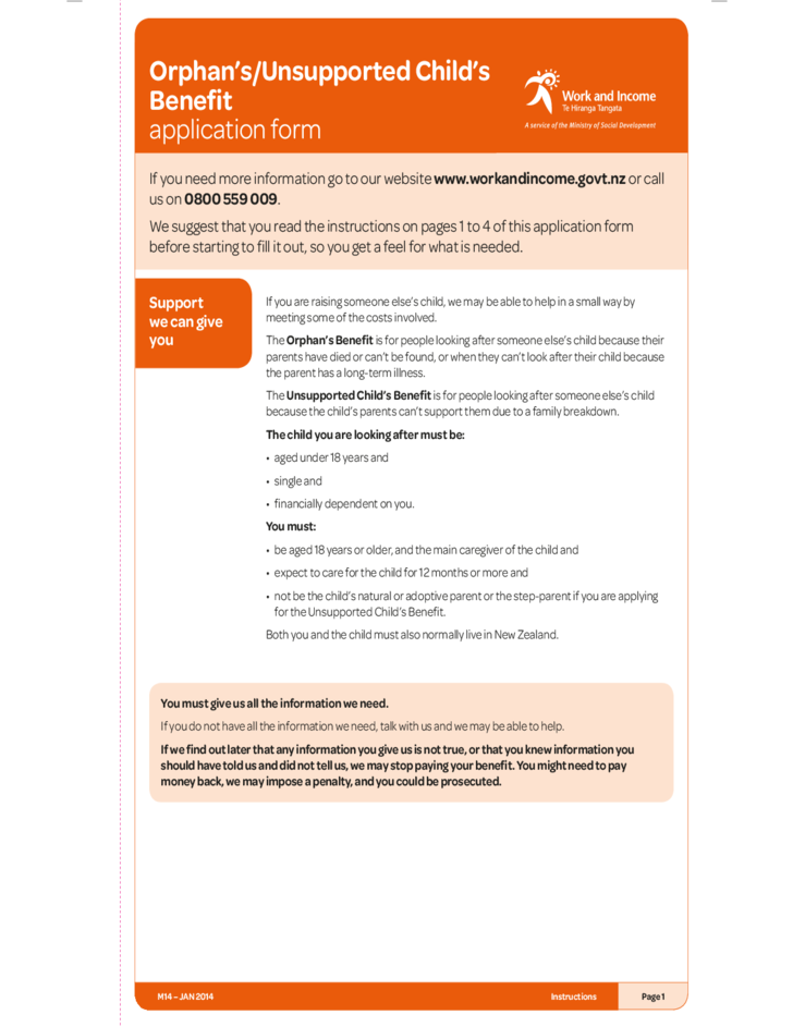 Orphan's or Unsupported Child's Benefit Application Form