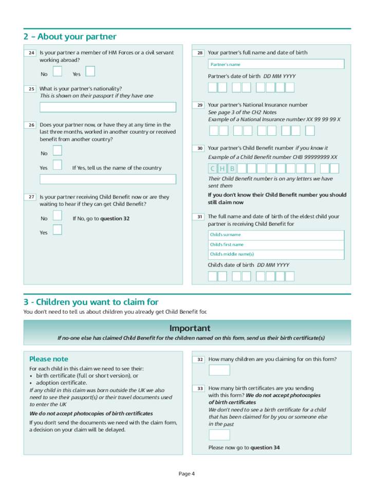 Child Benefits Claim Form Free Download – Child Benefit Form