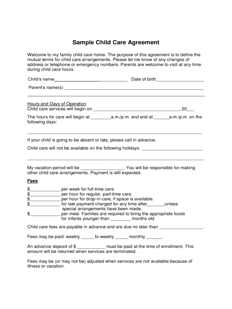child care contract template tradinghub co