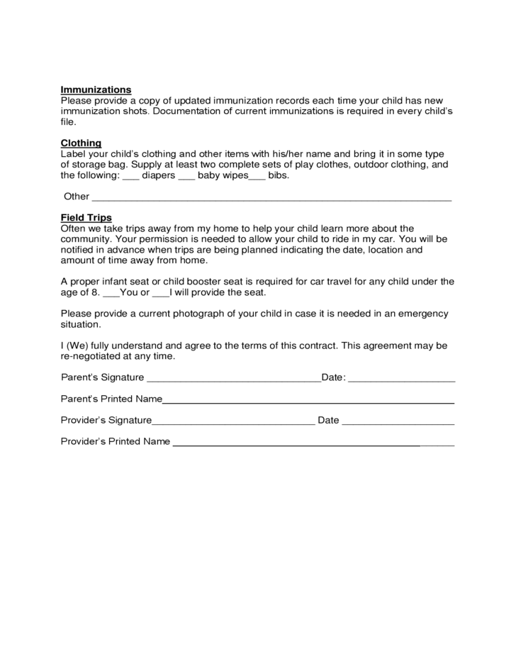Sample Child Care Agreement Form Free Download