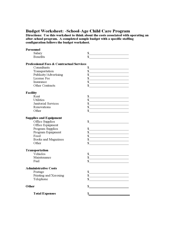 School Age Child Care Program Budget Worksheet Free Download
