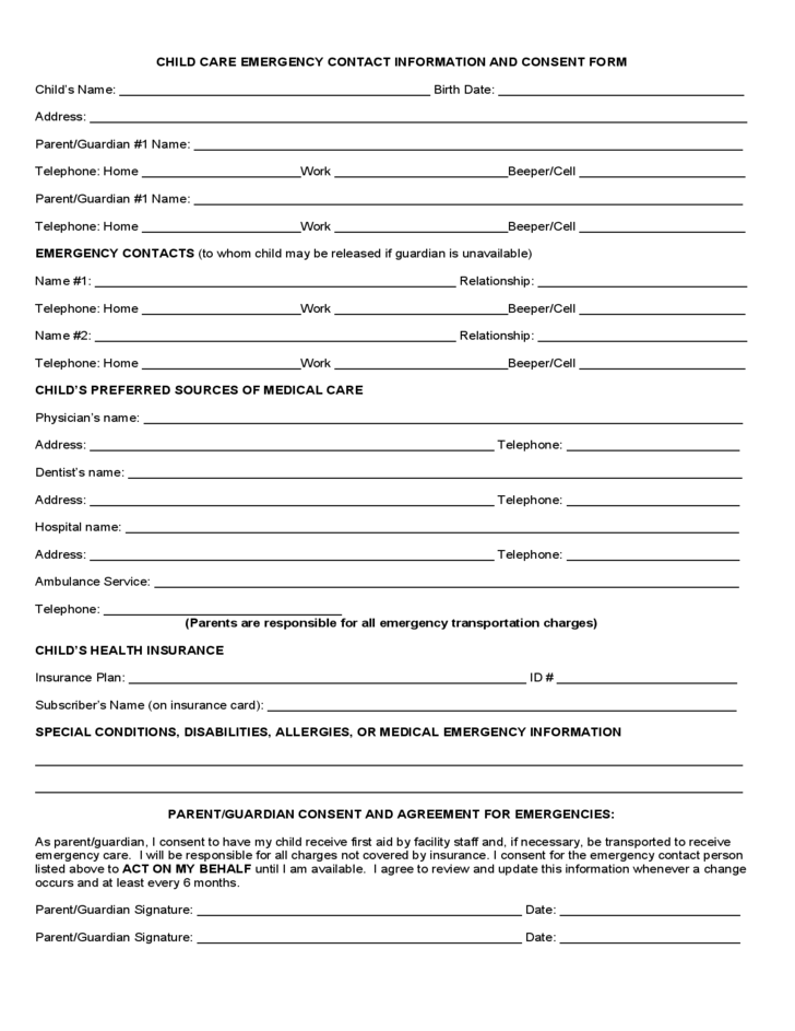 Contact information form for Emergency contact form template for child