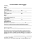 Child Care Emergency Contact Form - Indiana Free Download