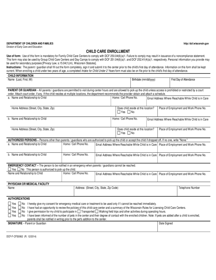 Child Care Enrollment Form - Wisconsin Free Download