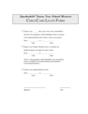 Child Care Leave Form - Spackenkill Union Free School District Free Download