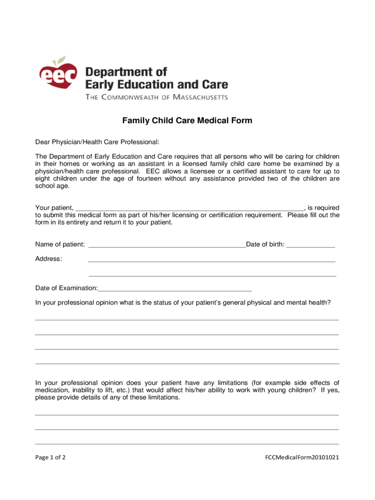 Child Care Medication Form - Massachusetts