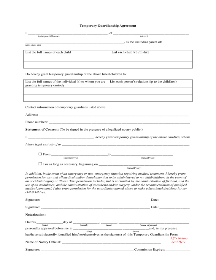 Temporary Guardianship Agreement Alabama Free Download