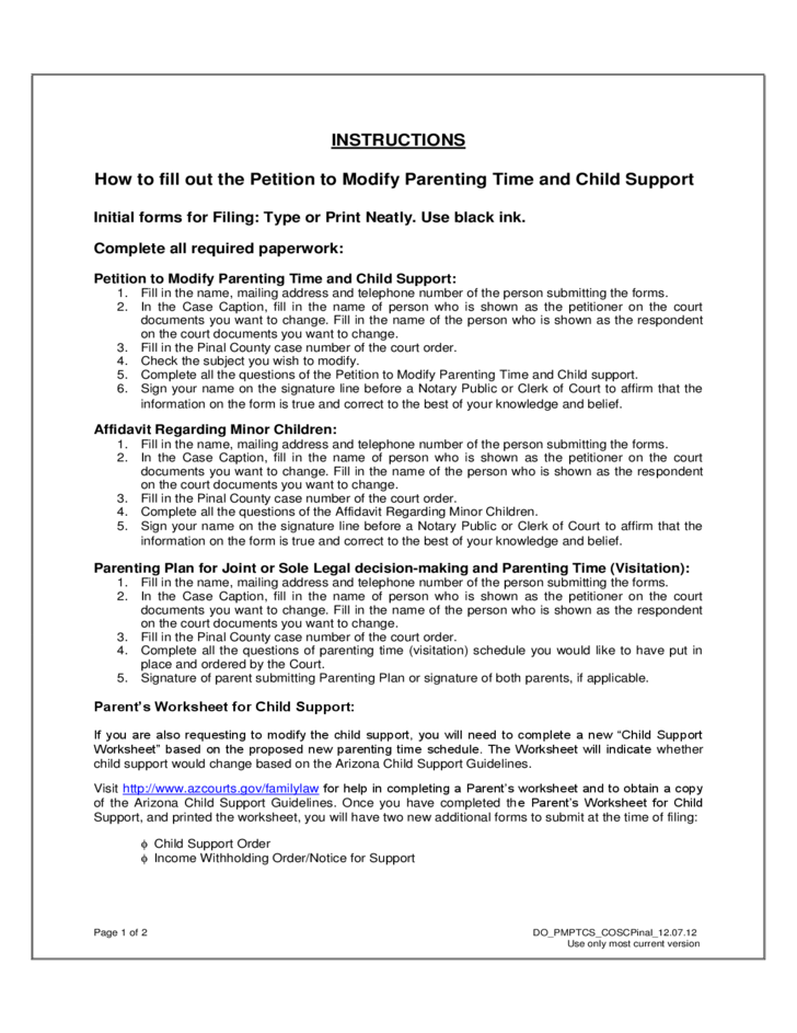child support worksheet az Elleapp – Child Support Worksheet Washington