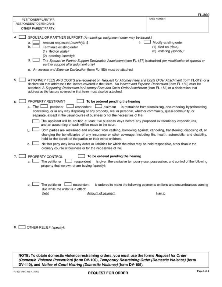 Child Custody Form - California Free Download