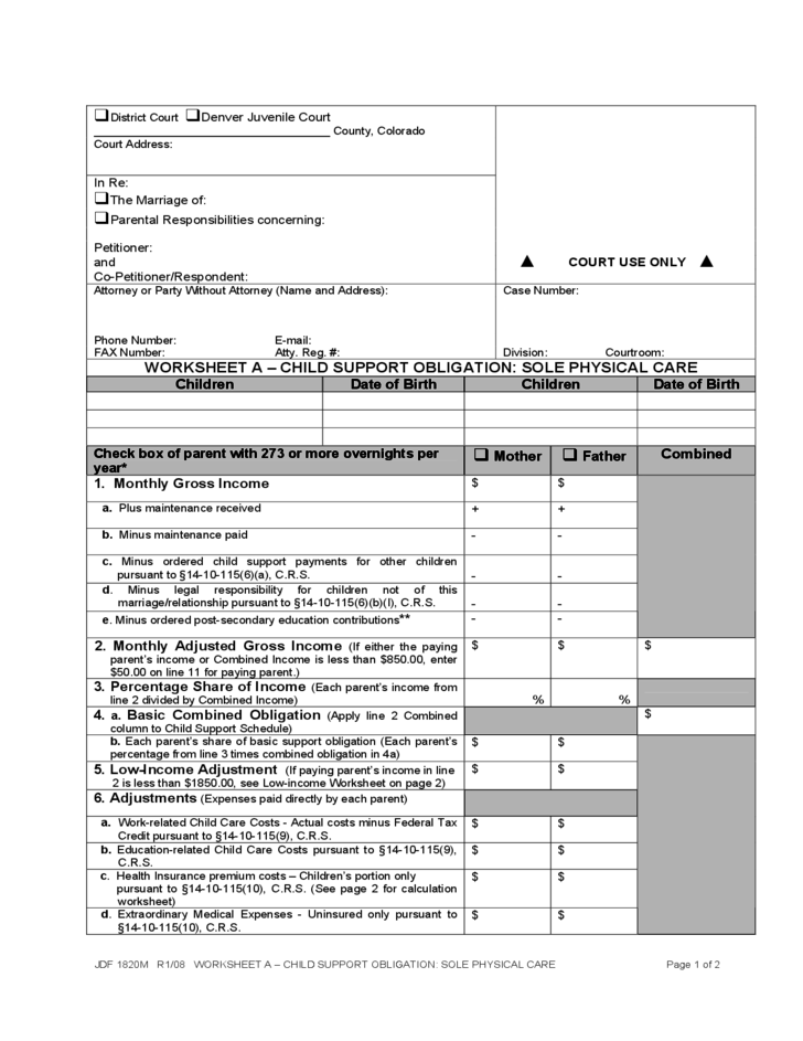 Sole Custody Worksheet Colorado Free Download – Nc Child Support Worksheet a