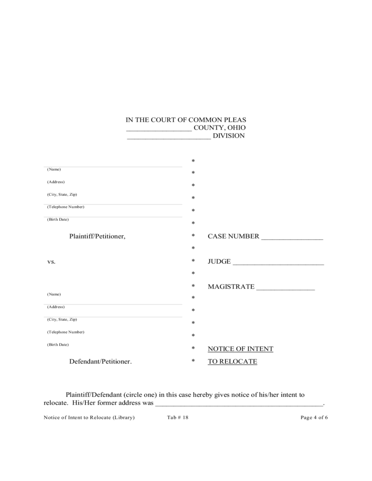 Custody Notice Of Intent To Relocate Ohio Free Download