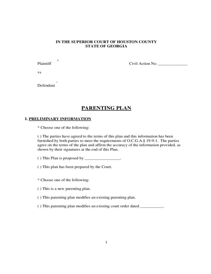 parenting plan form