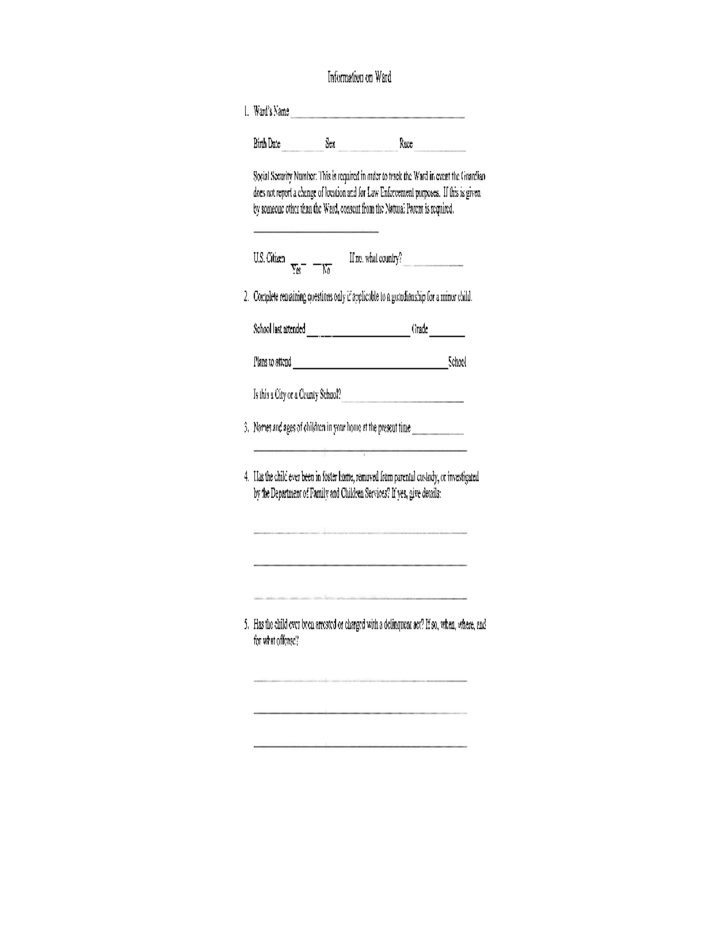 Temporary Legal Guardianship Form - Georgia Free Download