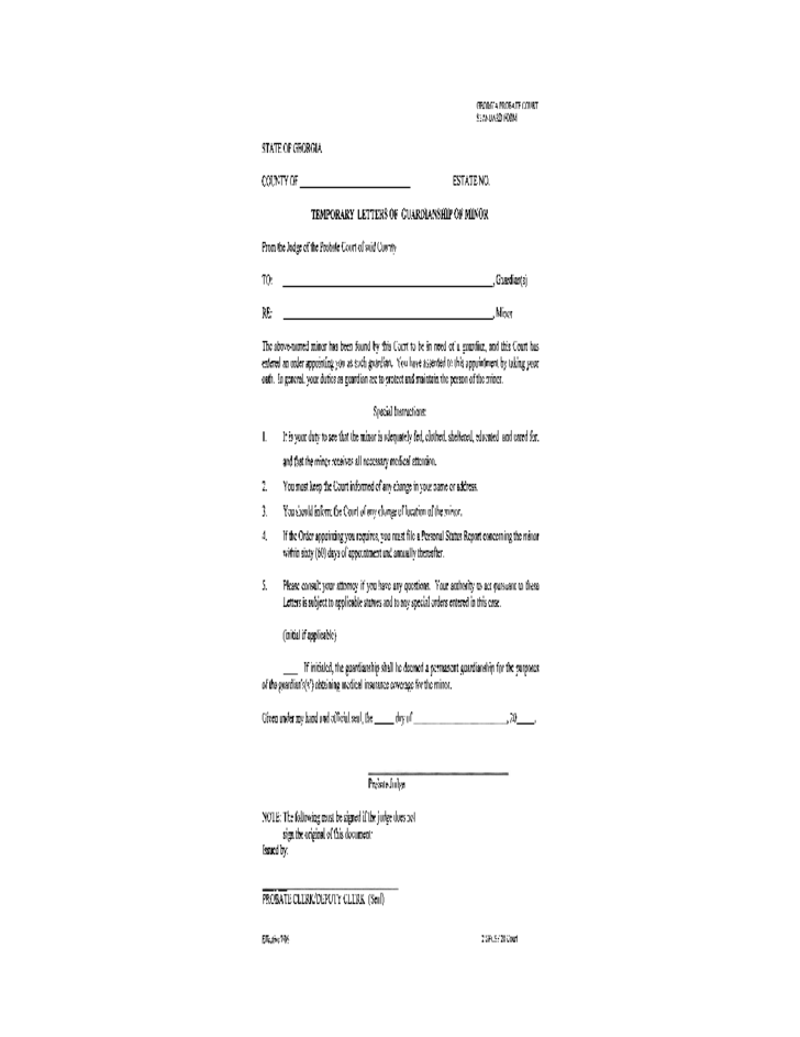 Temporary Legal Guardianship Form Georgia Free Download – Temporary Guardianship Forms